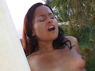 Two Asian Lesbians Fuck Outside