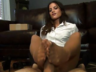 Employee Gives Her Boss A Pantyhose Footjob