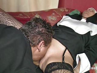 German Milf Nun Get Fucked By The Pastor In Church