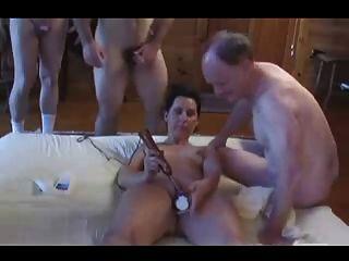 Amateur - Hot Mature Bareback Pierced Wife Gangbang