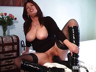 Fucking A Colossal Dildo In Her Greedy Pussy