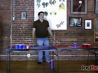 4 Beautiful Girls Play A Game Of Strip Beer Pong