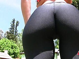 Amazing Ass Busty Blonde Teen In Tight Lycras! Hot Cameltoe!