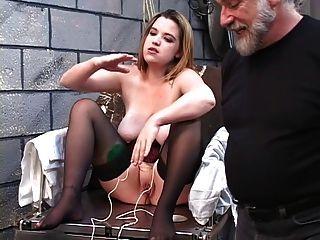 Dd Bondaged Blonde In Corset Must Mount Electric Dildo