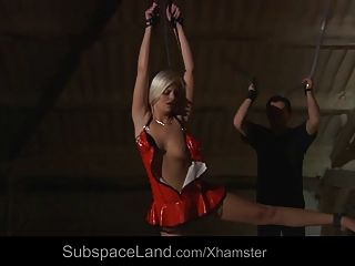 Sexy Busty Blonde In Dungeon For Bdsm Training
