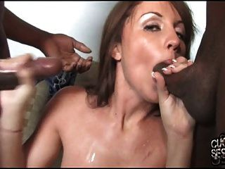 Slut Wife Sandwiched By Blacks In Front Of Cuckold Hubby