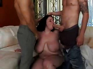 Chubby Bigtitted Brunette Double Teamed
