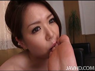 China Mimura Gives A Great Rim Job Before Sucking A Cock