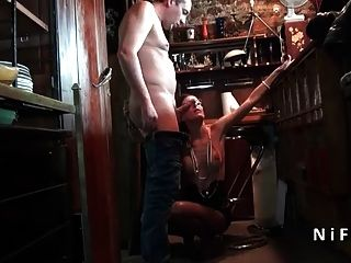 Amateur French Brunette Fucked Hard In A Bar