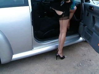Mature Leggy Lady In Car