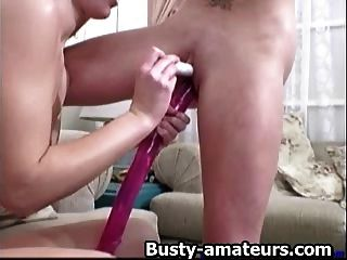 Busty Lesbians Sunny And Holly Dildoing
