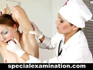 Lesbian Doctor Examines Shy Babe