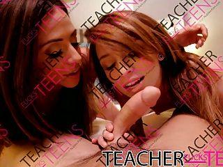 Double Facial For Milf Teacher And Tiny Teen Student