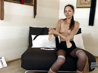 First Nylon Encasement For This Pretty Young Slut