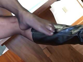 Mature Lady In Black Pantyhosed Feet Makes My Cock Rock Hard