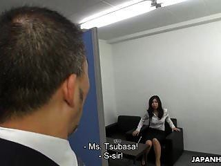 Asian Office Lady Uses Magic To Get A Messy Creampie