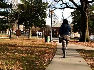 Busted!!!! Jiggly Big Booty Ebony Thot In The Park (walking)