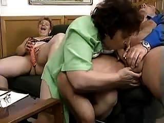 2 Grannies, 2 Dildos And A Big Cock