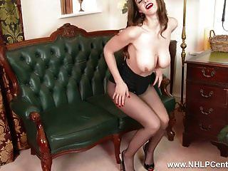 Babe With Big Natural Tits Fucks Big Toy In Nylon Pantyhose